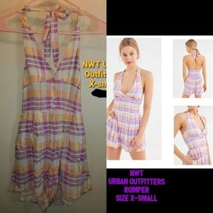 NWT Urban Outfitters Smocked Halter Romper XS